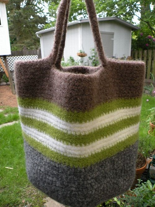 Striped Felted Crocheted Wool Bag by creates2finds on Etsy, $86.00
