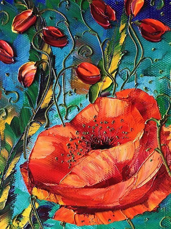 Modern Flower Oil Painting Poppy Fields Red Poppies Floral
