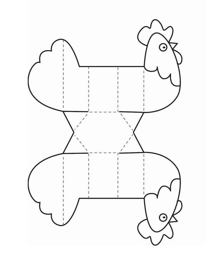 Gallina recortable para colorear | Manualidades para niños ...