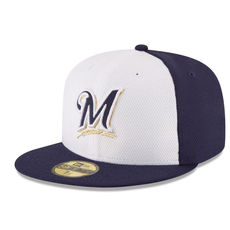 e1219b742cf Milwaukee Brewers New Era Road Diamond Era 59FIFTY Fitted Hat - Navy White
