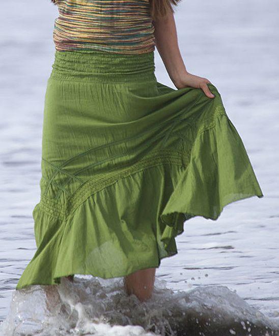 Olive Ruffle Maxi Skirt » Fun summer style.