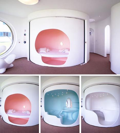 7 Clever Ideas For A Secure Remote Cabin: Space-Saving Pod Home Design With Rotating Rooms: At Just
