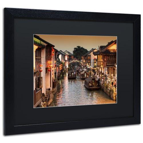 Trademark Fine Art Water Town by Philippe Hugonnard, Black Matte, Black Frame 16x20-Inch