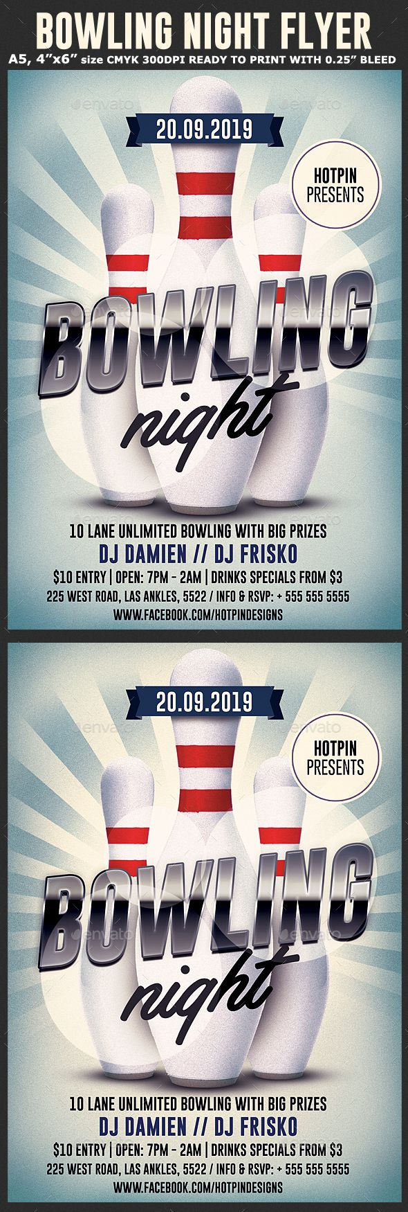 Bowling Night Flyer Template  Flyer Template Bowling And Promotion