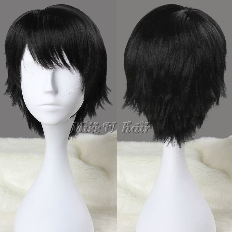 30cm Short Straight Cosplay Anime Wig Synthetic Party Wigs For Men Black Brown Anime Wigs Short Black Wigs Wigs