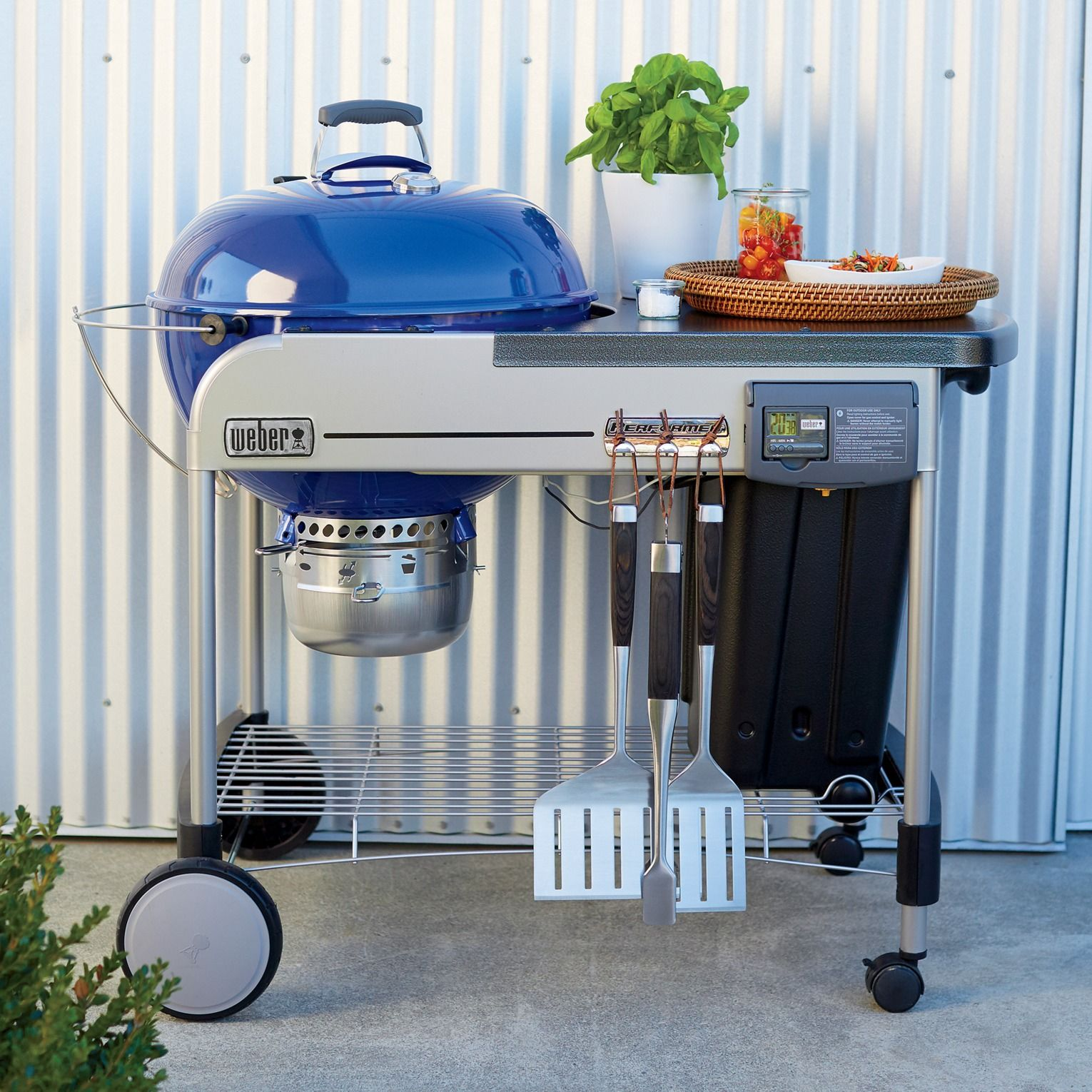 Weber Blue Performer Deluxe Charcoal Grill Charcoal Grill Grill Accessories Grilling