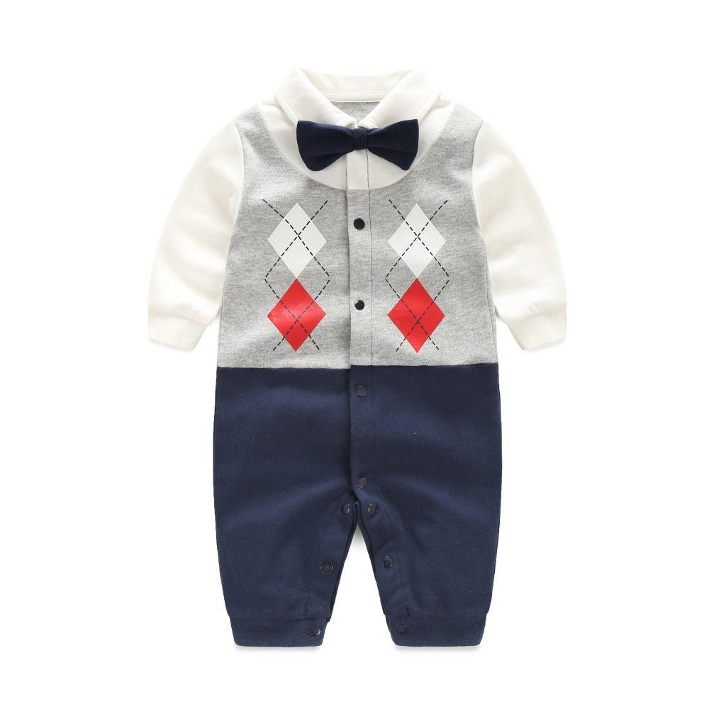 Newborn Baby Boy Rompers 100% Cotton Tie Gentleman Suit Bow Leisure Body Suit…