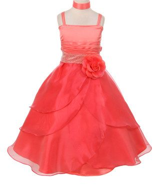 Coral Rosette Sleeveless Dress - Toddler & Girls