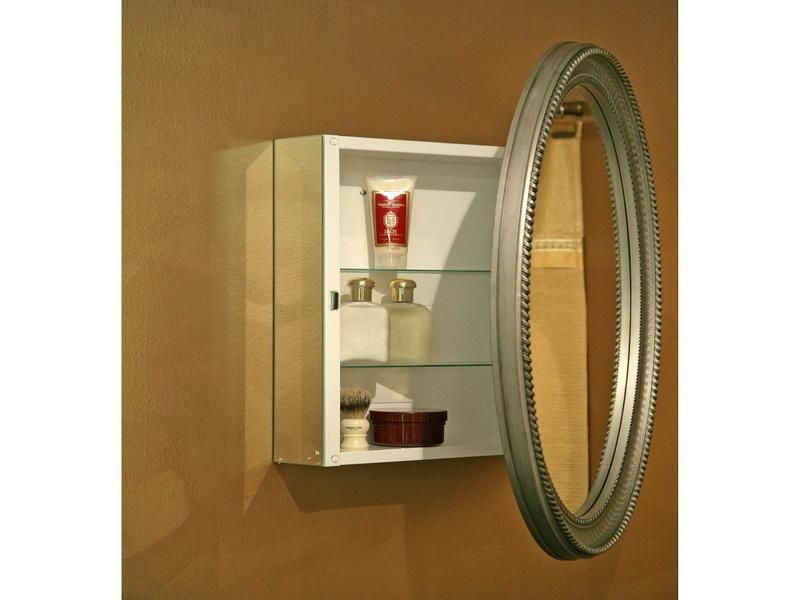 Beau Oval Mirror On Medicine Cabinet