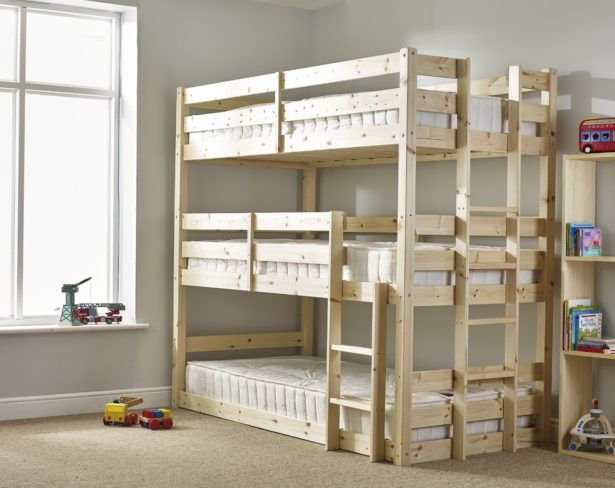 Bedroom Triple Bed Bunk Wooden Decker Twin With Special Features For Children And S