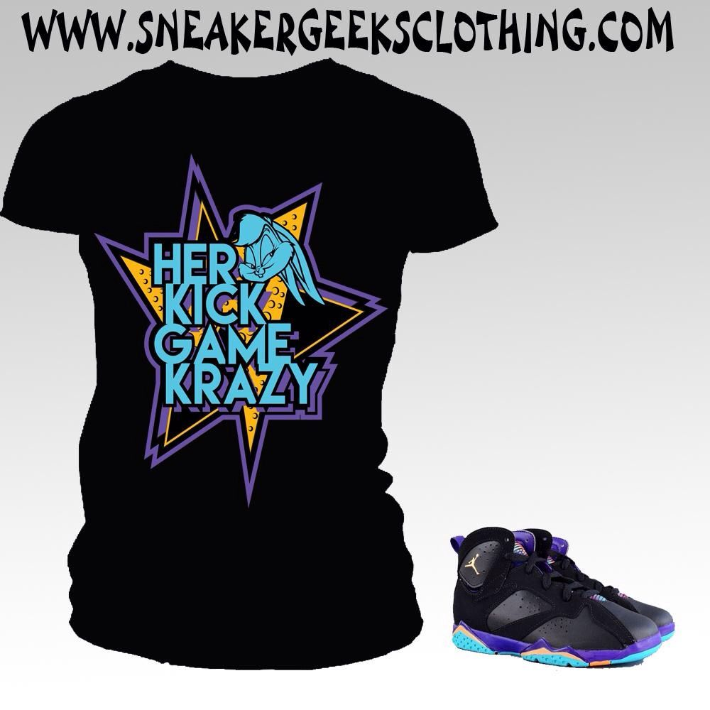 HER KICK GAME KRAZY Women s T-Shirt in black to match Jordan 7 Lola Bunny 6ead4caf62