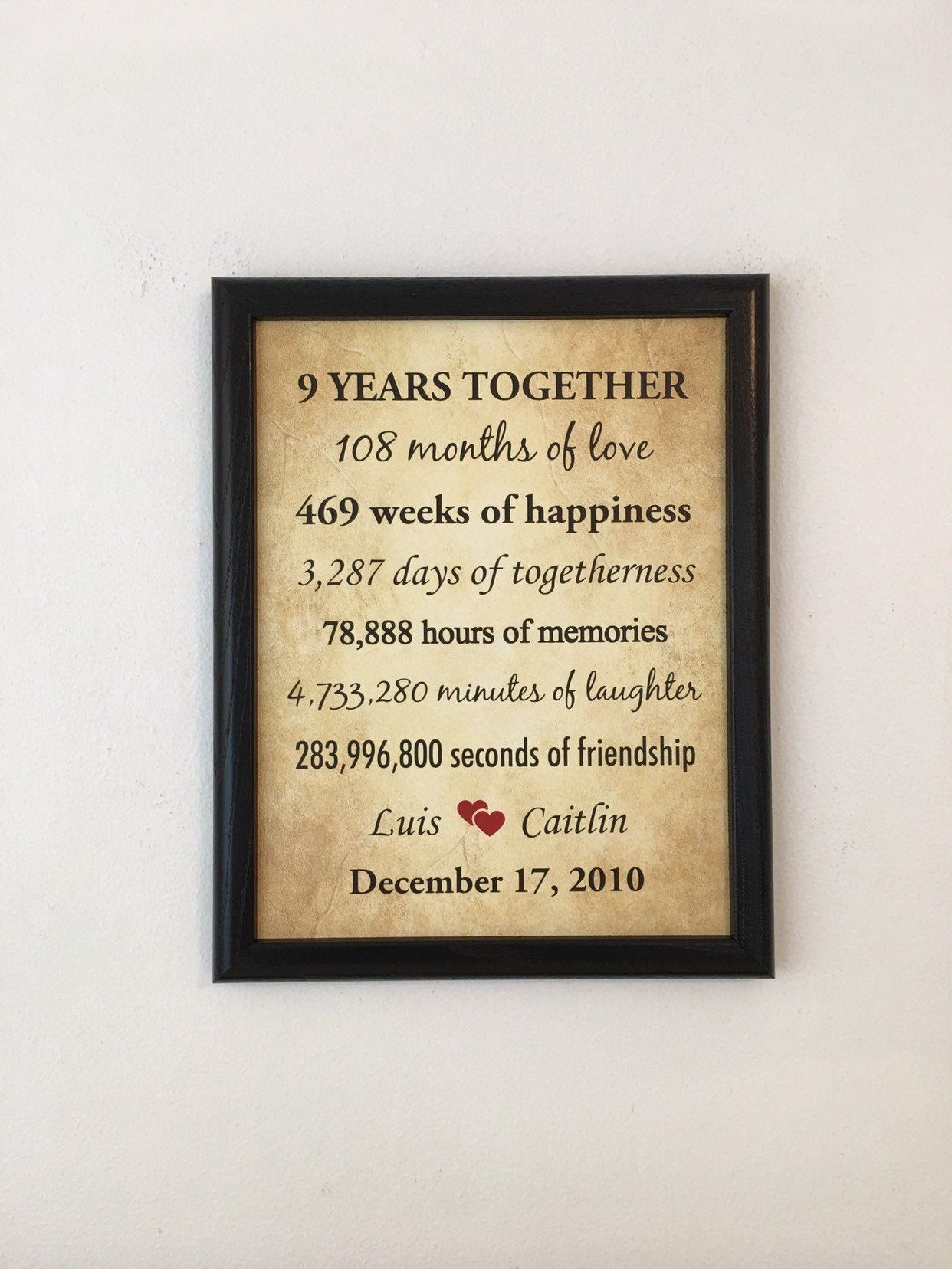 9 Year Anniversary Gift For Husband 9th Anniversary Gift For