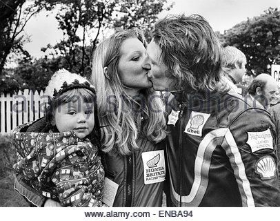 Charlie Williams and family, at the International Isle of Man TT Races, 13th June 1977. *** Local Caption *** ( - Stock Image