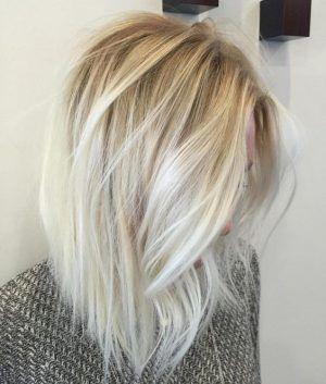 Platinum Blonde Ombre Hairstyle Wiht Medium Length Hair