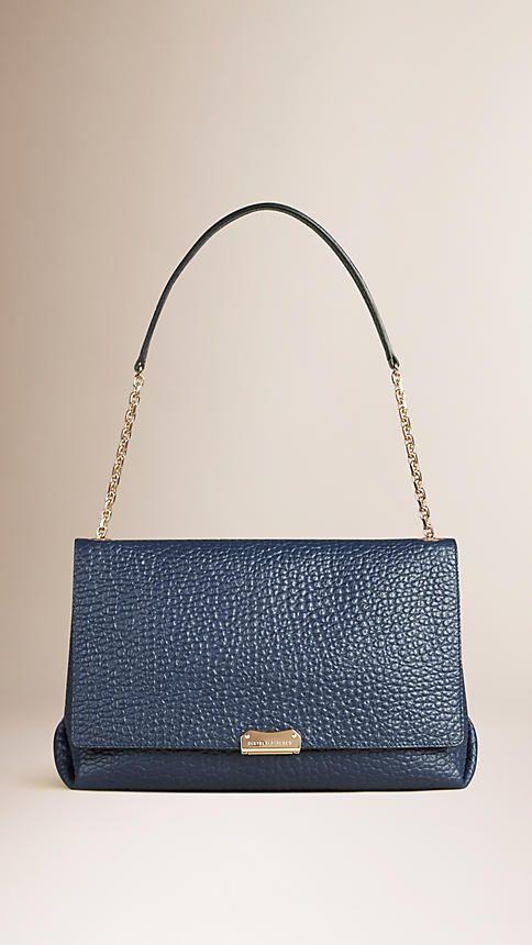 c4c5bb5f0594 Bag · Blue carbon Large Signature Grain Leather Shoulder Bag - Burberry