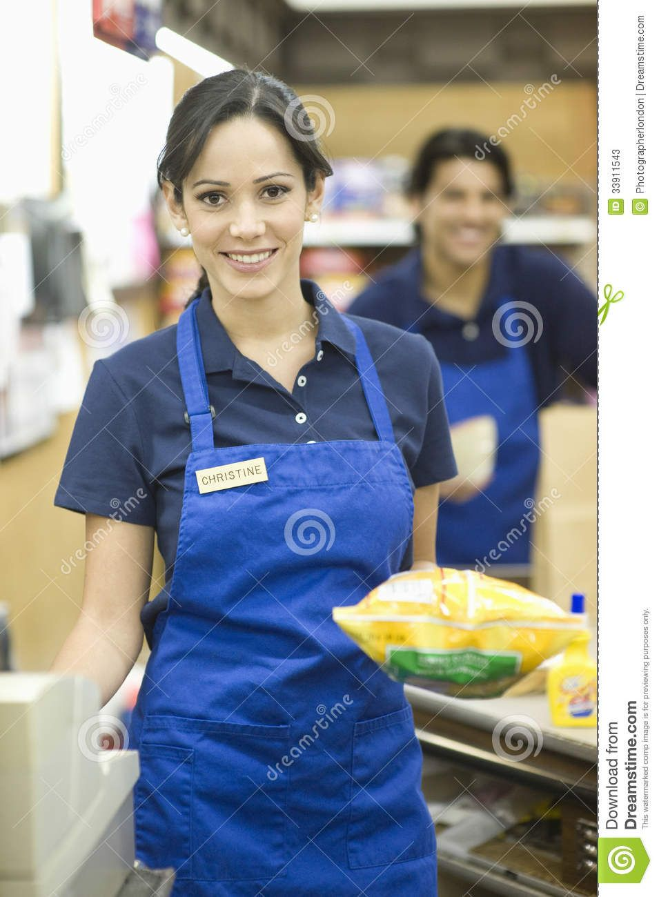 Blue apron employee reviews - Supermarket Employee Blue Apron Portrait Male Female Employees