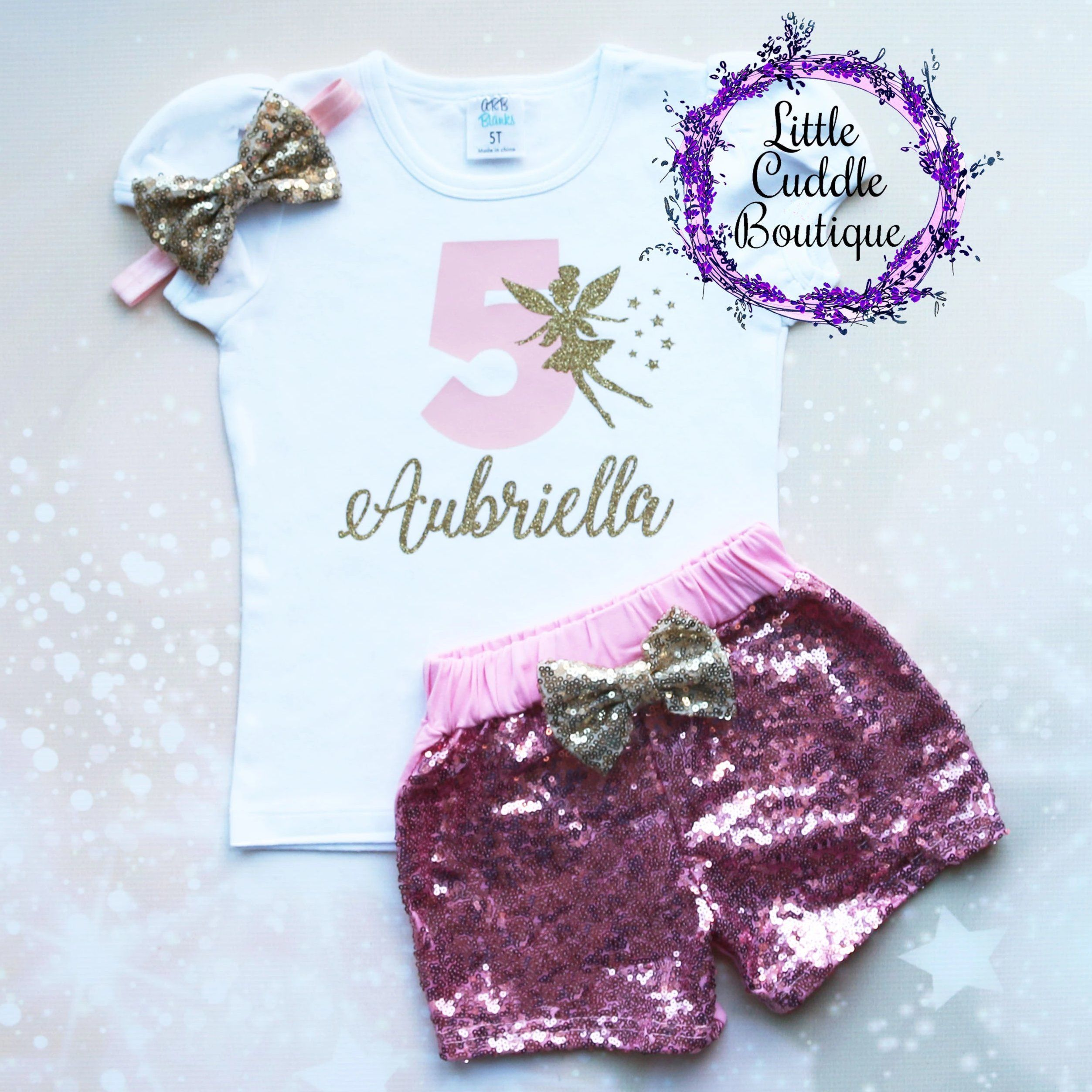 Personalized Fairy Toddler Shorts Birthday Outfit