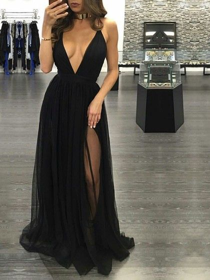 be91ad0e7d7 Hot A-line V-neck Tulle Floor-length Split Front Black Backless Prom Dresses   139.99
