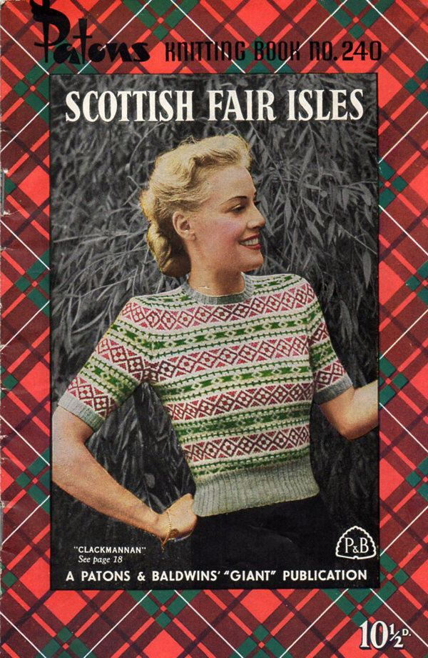 1940s Vintage Scottish Fair Isle Sweaters Knitting Book - Patons ...