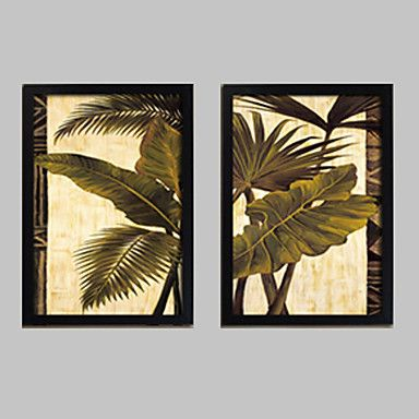 Floral botanical framed canvas framed set wall artpvc black no mat with frame wall art