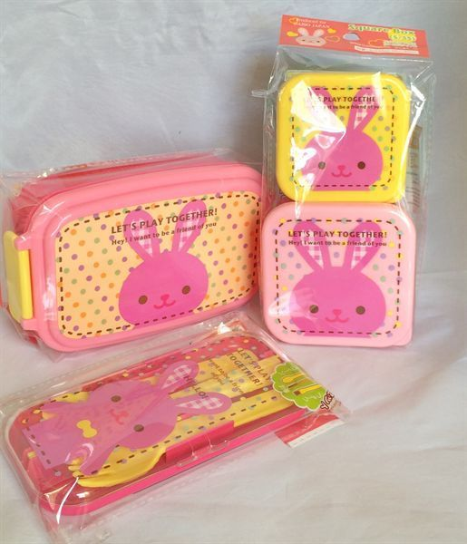 set of 3 kawaii pink rabbit bento lunch boxes folk spoon chopsticks daiso japan daiso kawaii. Black Bedroom Furniture Sets. Home Design Ideas
