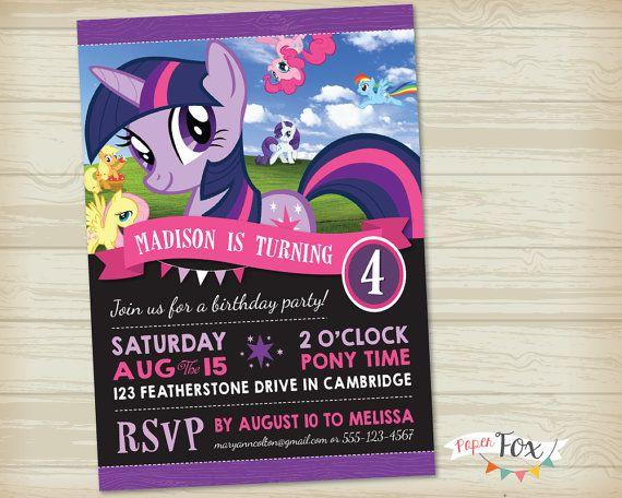 My Little Pony Invitation Featuring Twilight Sparkle
