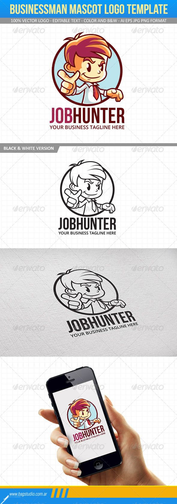 Businessman Mascot Logo Template | Logo templates, Template and Logos
