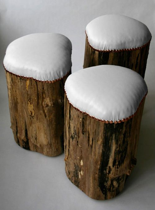 stump stools. cool outdoor seating.. just use outdoor fabric for covers and don't worry about rushing to get them in from a rain shower!