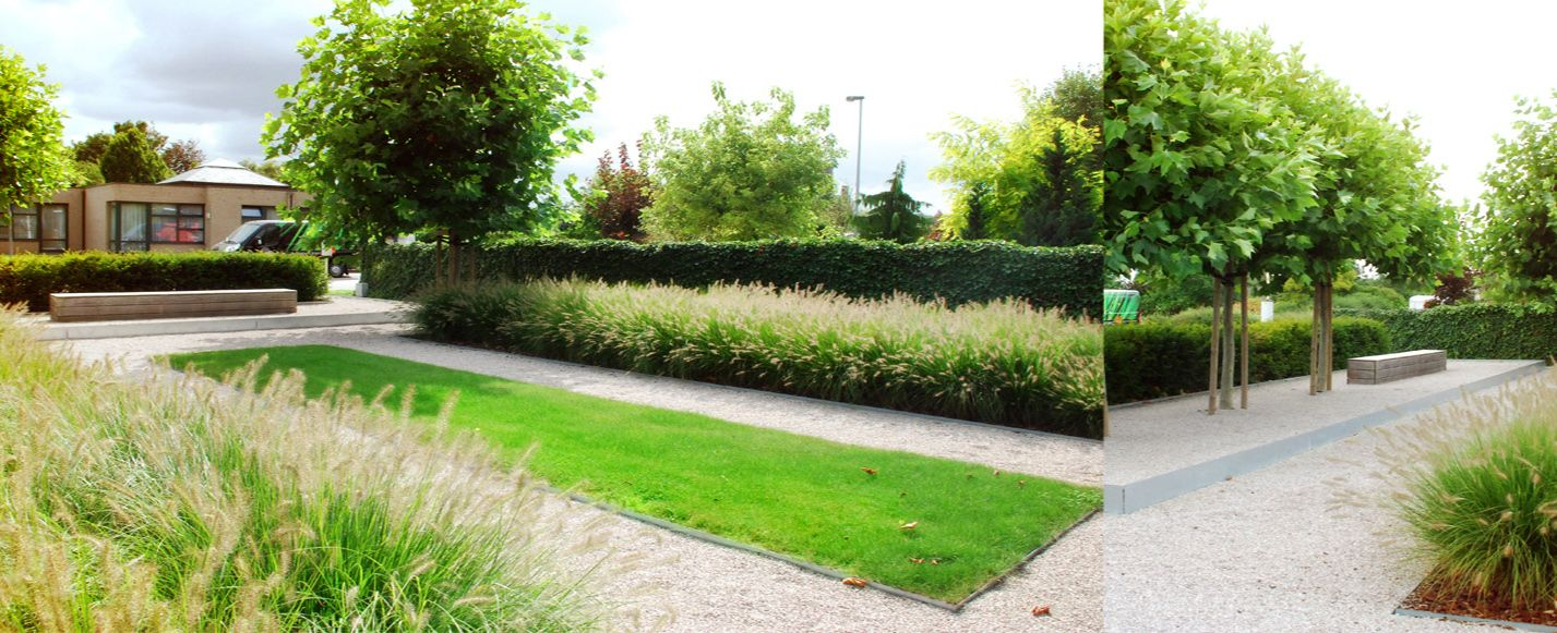 Tuin met strakke lijngeving style modern pinterest tuin moderne tuin en met - Moderne landschapsarchitectuur ...
