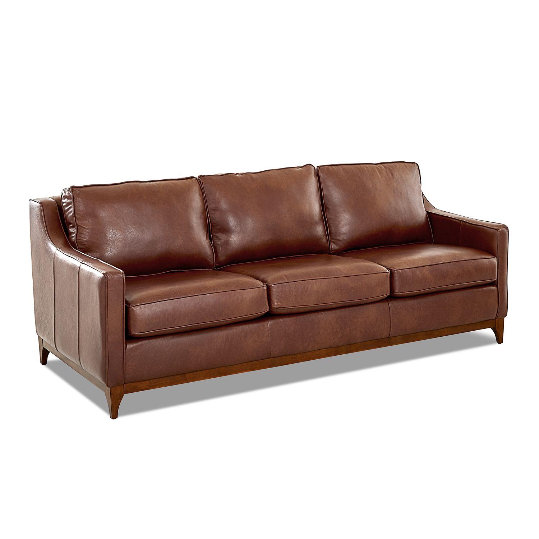Avenue 405 Ansley Chestnut Leather Wood Base Sofa Avelt64600essteamches Bellacor In 2020 Leather Sofa Sofa Chestnut Leather