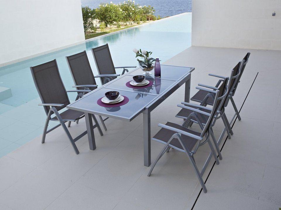 Gartenmöbel set alu  Gartenmöbelset »Amalfi«, 7-tgl., 6 Hochlehner, Tisch 140-200 cm ...