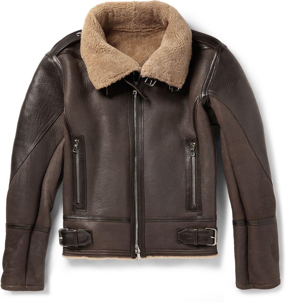Balmain Shearling And Leather Aviator Jacket Mr Porter Leather Jacket Men Leather Jacket Aviator Jackets [ 1002 x 960 Pixel ]