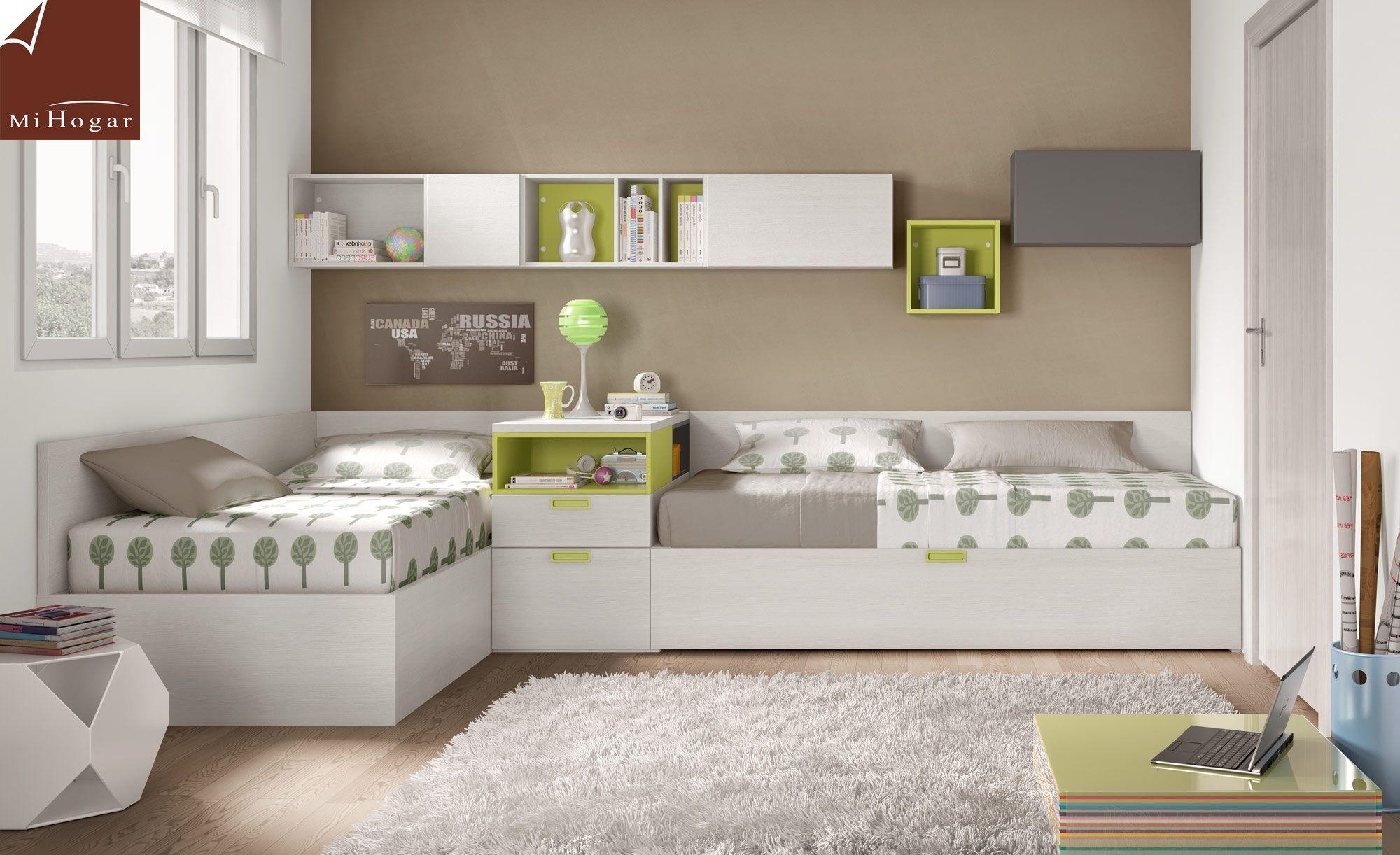 Resultado de imagen para camas en l juveniles muebles - Habitaciones juveniles ninas ...