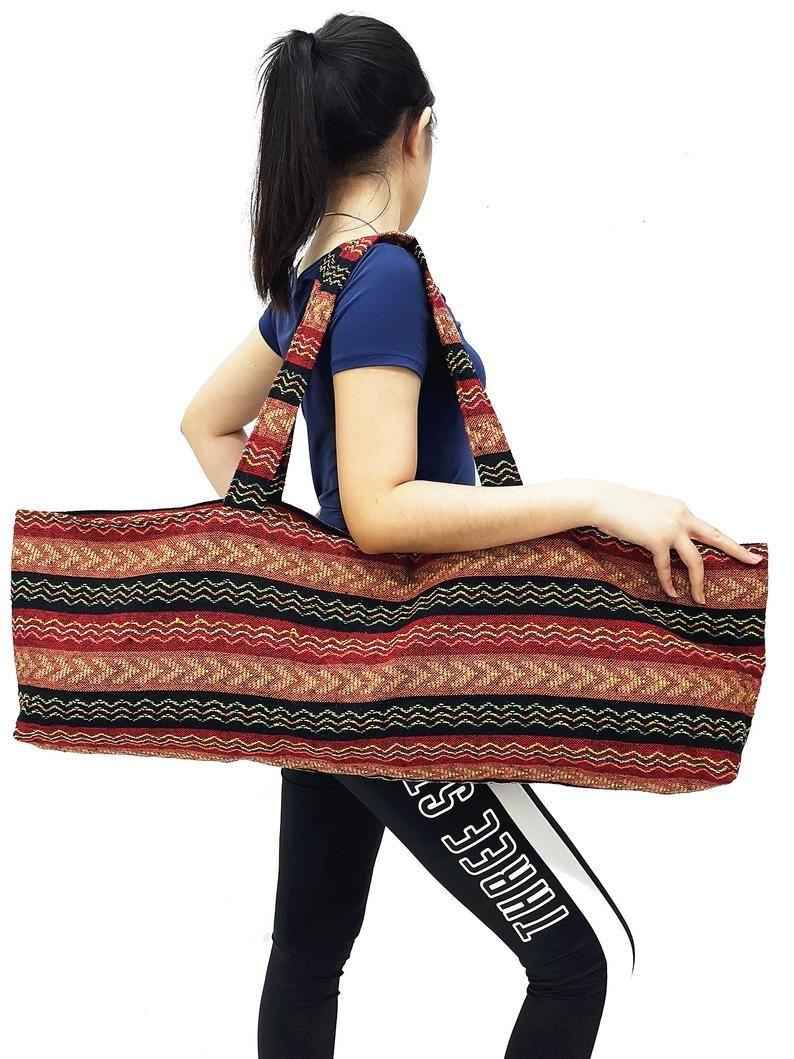 Handmade Yoga Mat Bag Sports Bags Woven Cotton Yoga Bag Tote Yoga Sling Bag Pilates Bag Pilates Mat Bag Canvas Bag Women Yoga Bag Yb241
