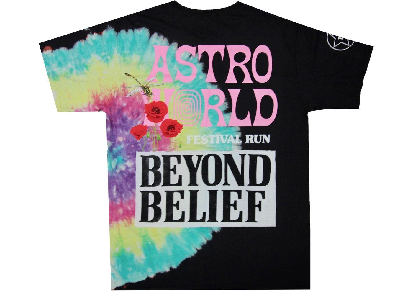 Travis Scott Astroworld Festival Run Tie Dye Tee Black In 2020 Travis Scott Astroworld Black Tee Travis Scott Outfits