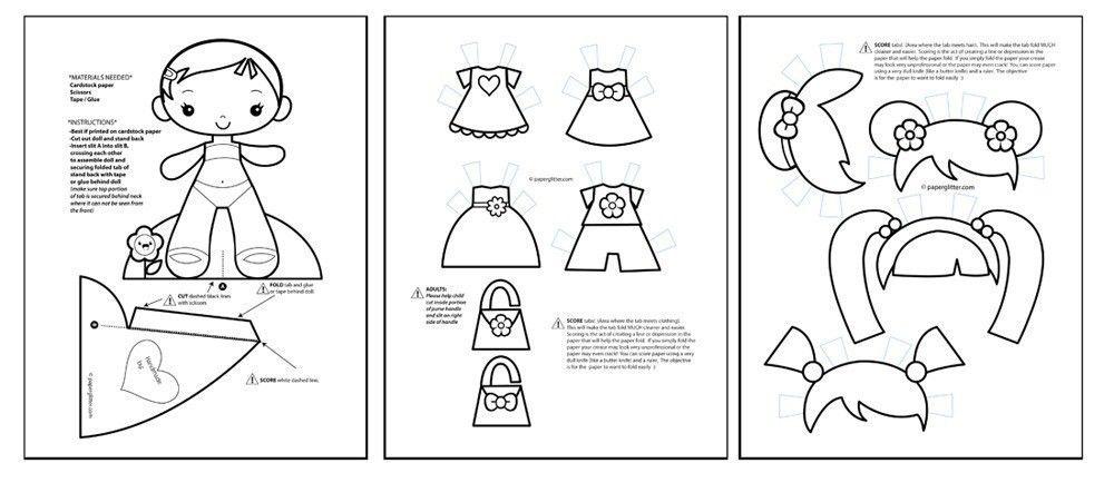 Paper Dolls COLORING PAGES Printables Kit - PDF | Paper ...