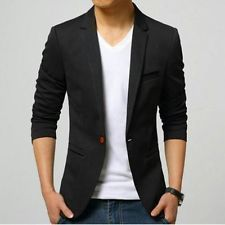 Mens slim fit blazer suit coat jacket + Slim Tie + Pocket Square + Hanger+  Cover