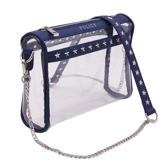 Stud Clear Handbag-Policy Handbag- Stadium Bag- NFL bag- Clear Purse- Clear  Handbags- Clear Bag-Tran 18f42abba8587