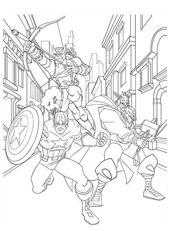 avengers character hawkeye and captain america and thor coloring pagejpg 600794 coloring pages pinterest avengers characters