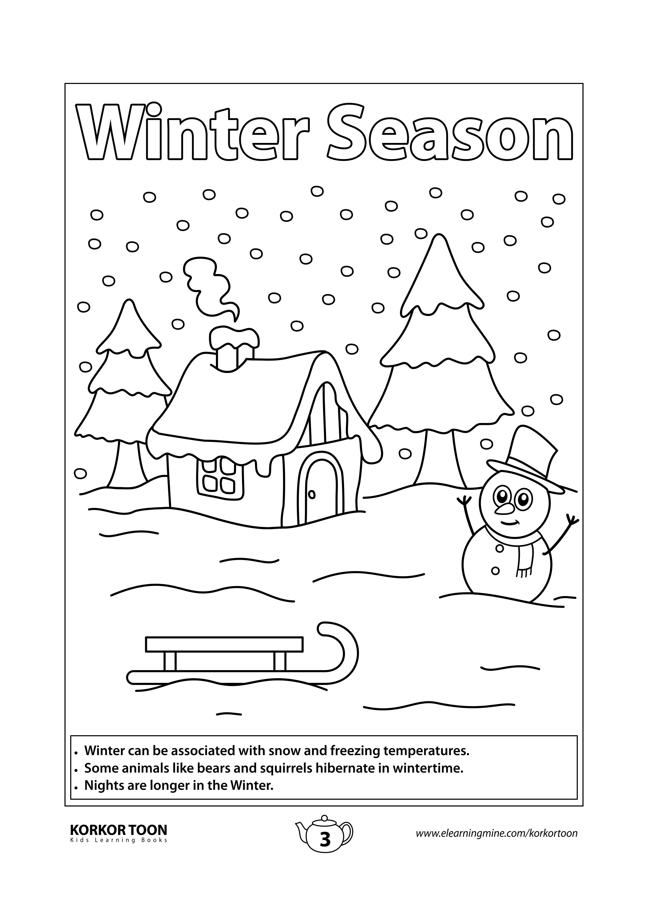 Seasons Coloring Book For Kids Winter Season Coloring Page In 2021 Coloring Books Kids Coloring Books Coloring Pages