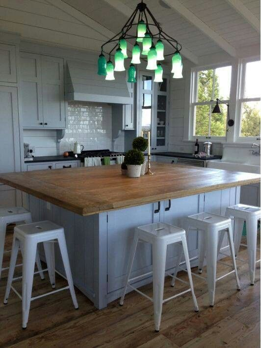 Like The Concept Of The Large Butcher Block Style Center Island