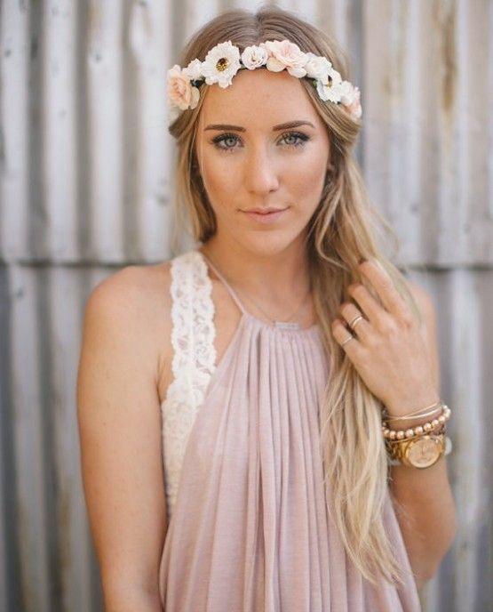 Fashion Women Bride Flower Headband Bohemian Style Rose Flower Crown