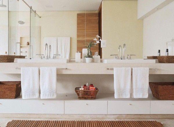 banheiro casal bancada solta puxador espelho grande  Banheiros  Pinterest  # Cuba Para Banheiro Grande