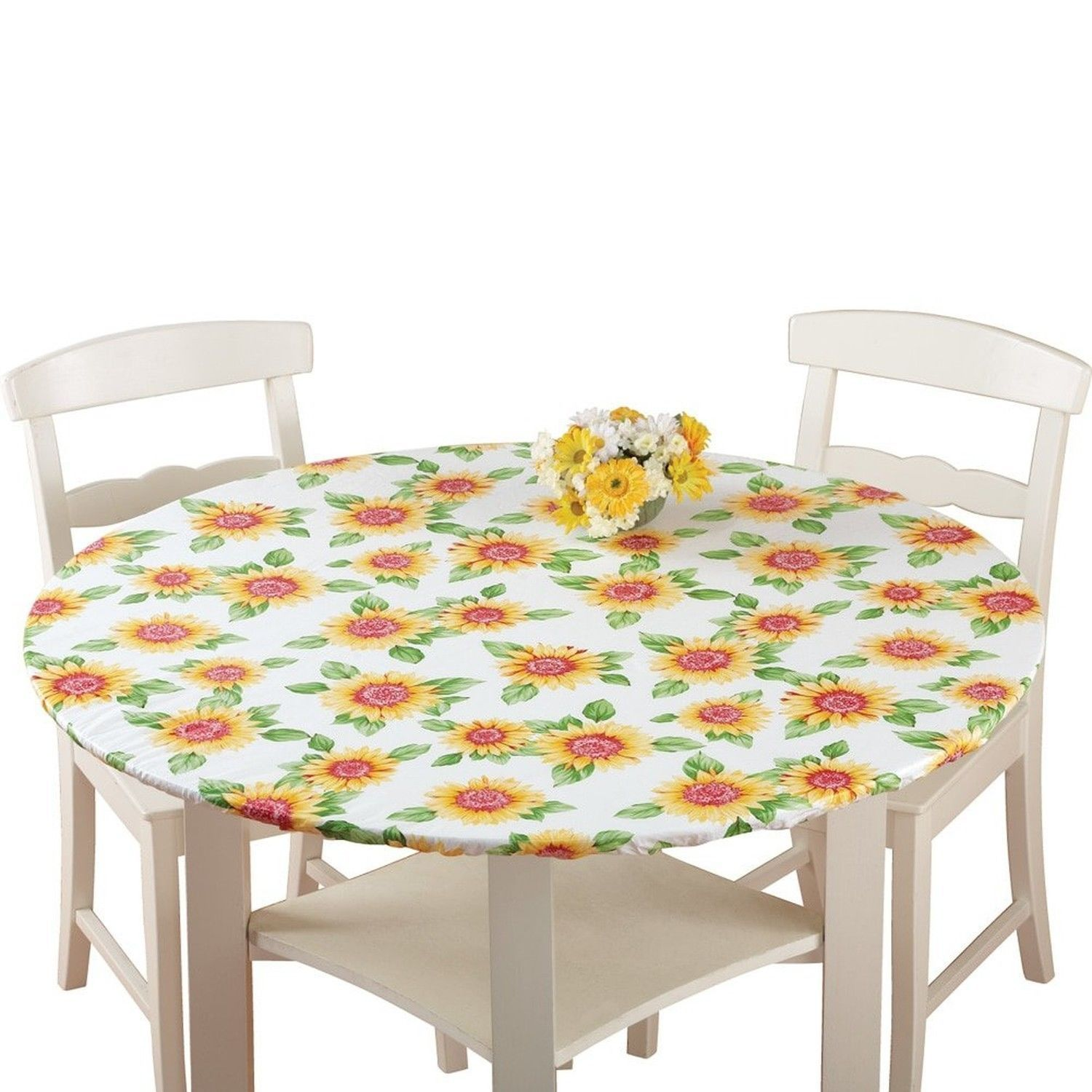 Fitted Elastic Table Cover Sunflower Round Durable Vinyl