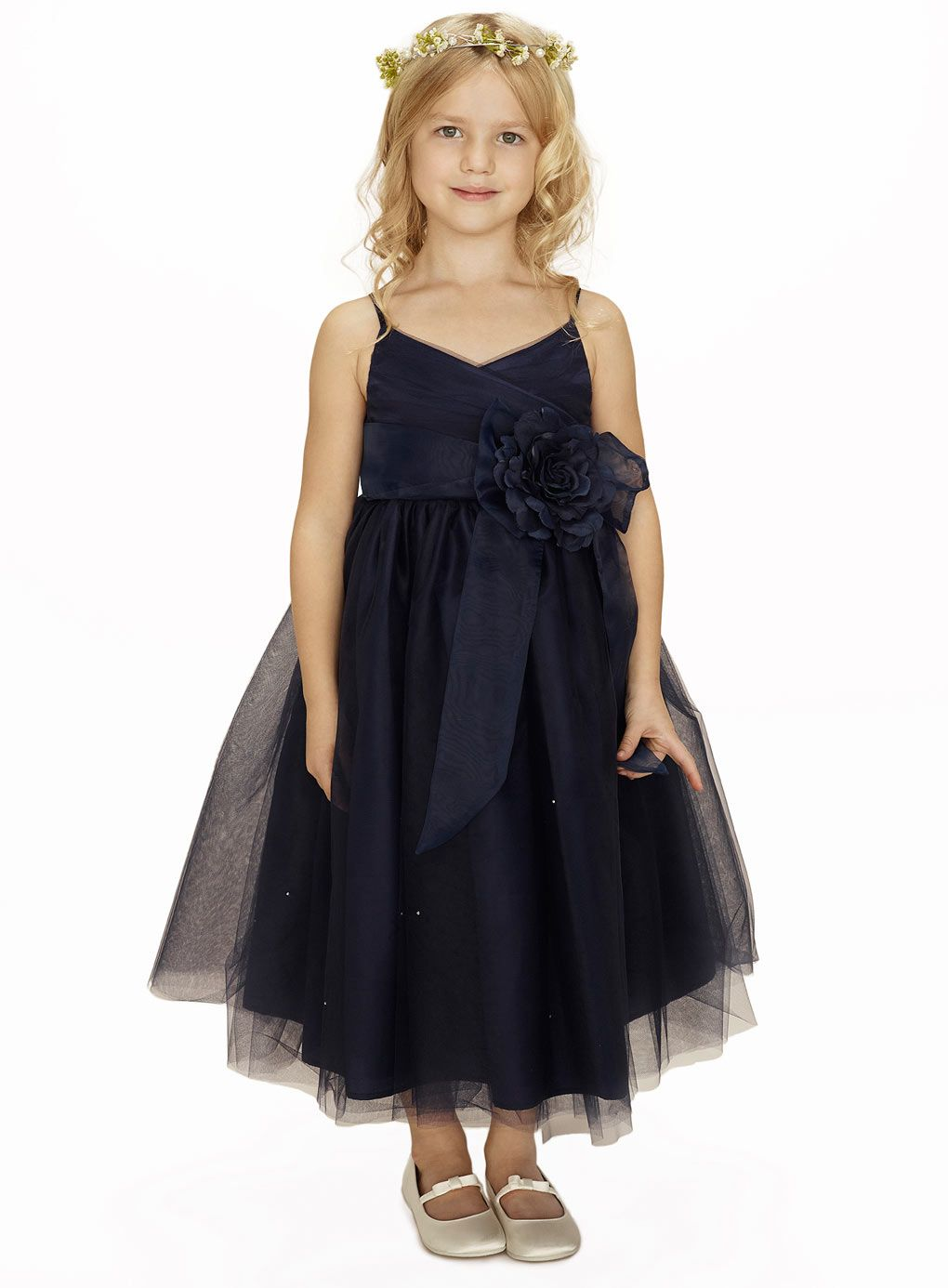Dark navy spaghetti straps ankle length tulle flower girl dress dark navy spaghetti straps ankle length tulle flower girl dress ombrellifo Image collections