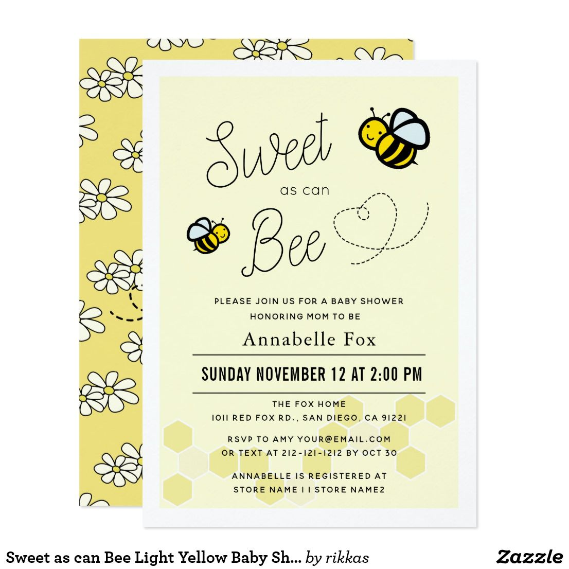 sweet as can bee light yellow baby shower invitation zazzle com in rh pinterest com