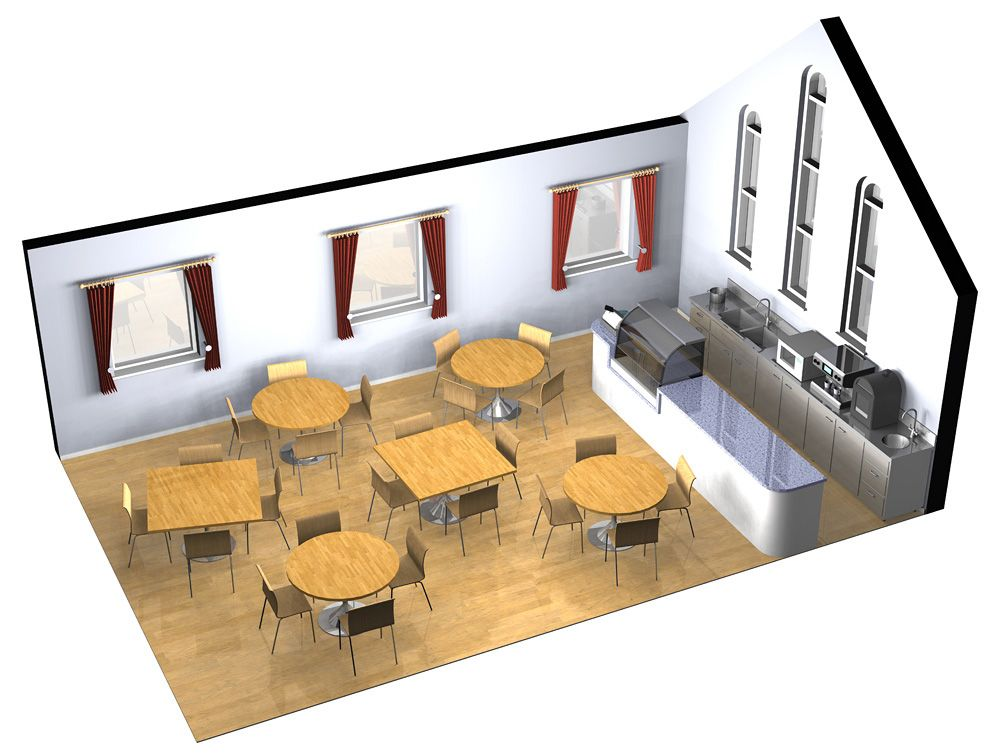 Cafe Visualisation An Illustration To Visualise The Layout Of A Small Cafe Merritt Cartographic In 2020 Interior Design Layout Cafe Interior Design Layout Design