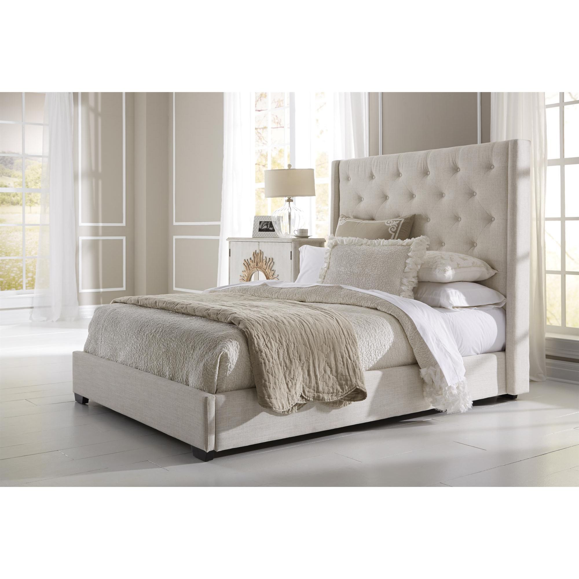 Wingback Button Tufted Cream Queen Size Upholstered Bed - Overstockcom