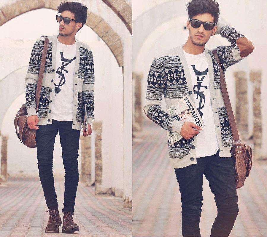Aztec print cardigan and skinny leg jeans Hipster Appreciation