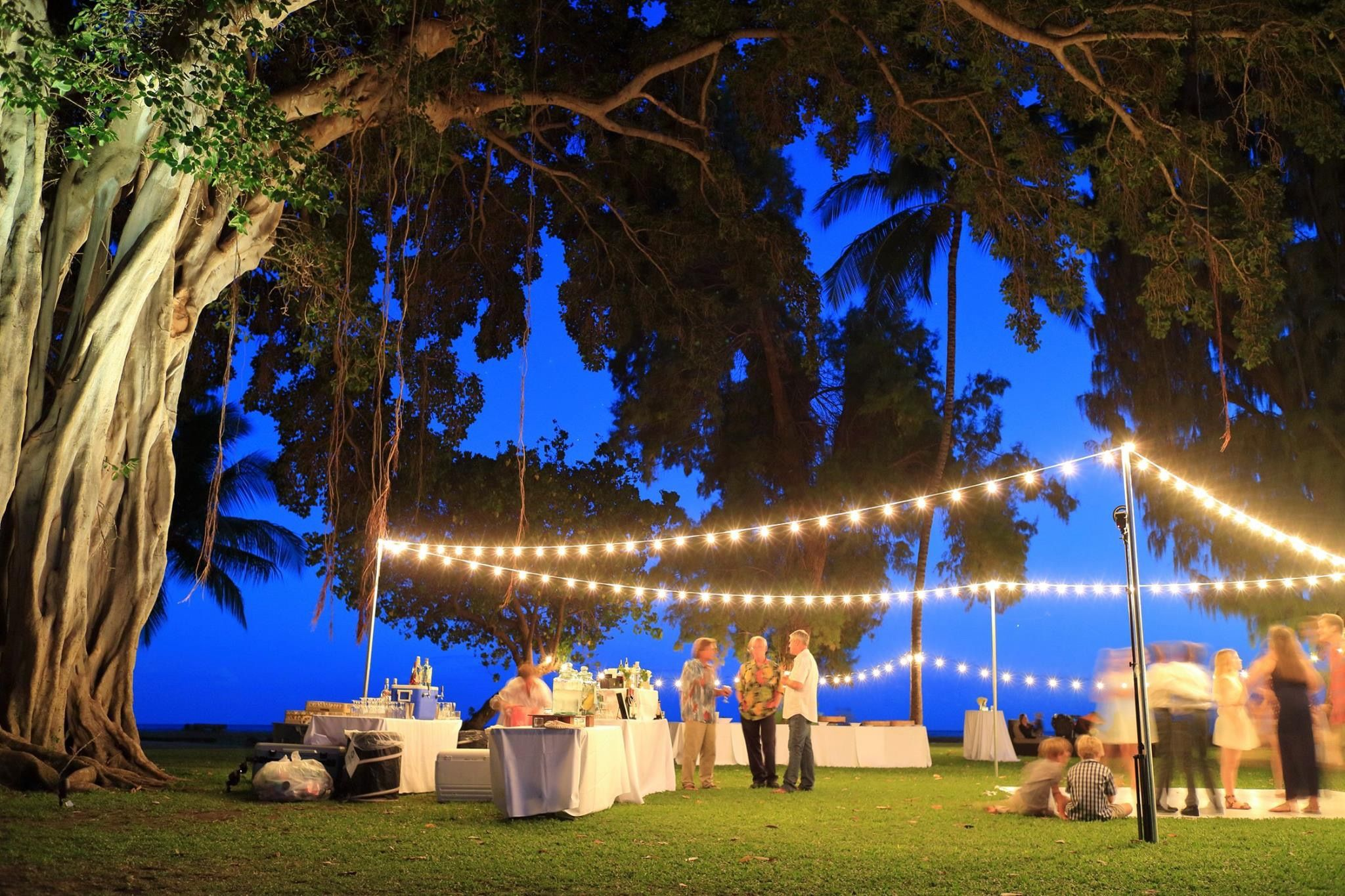 Exterior Café Lighting Post String Lights Light Bistro Landscape Up Banyan Tree Waimea Plantation Cottages